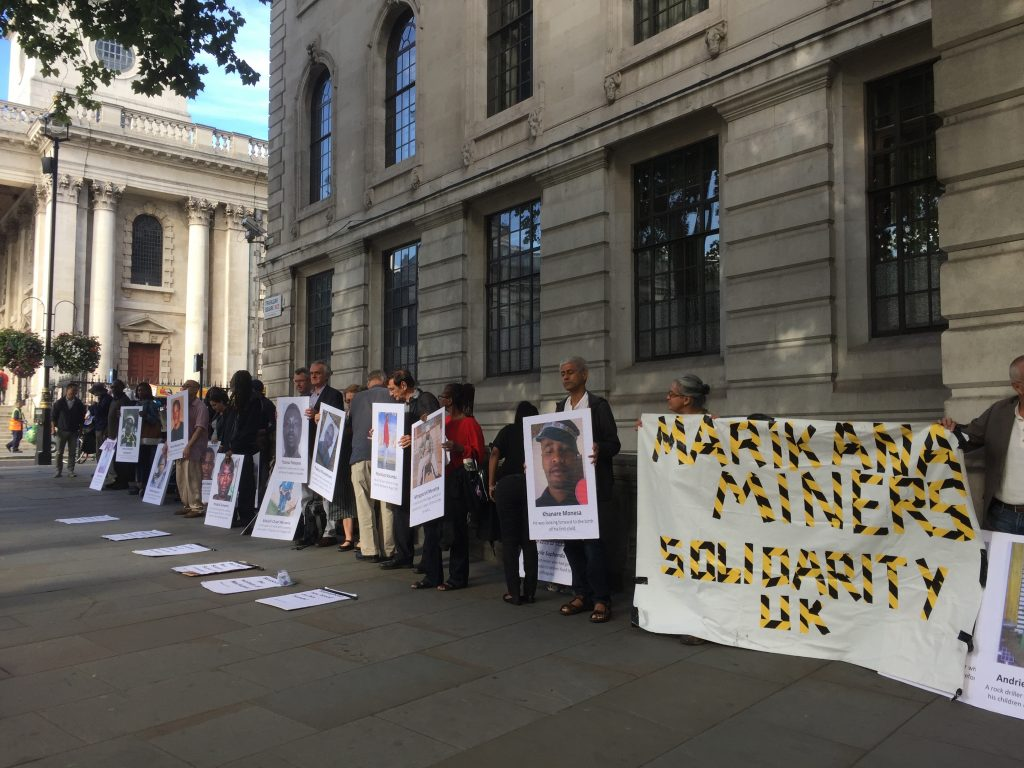 Marikana Miners Solidarity outside South Africa House