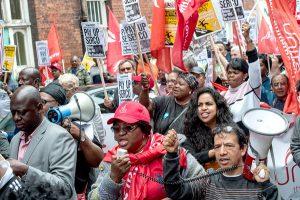 Serco workers on strike